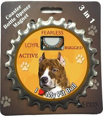 E S Pets 43243 Pit Bull Brindle Bottle Opener Coaster and Magnet
