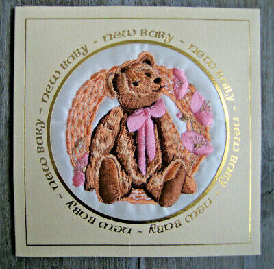 Handmade Embroided Baby Card By Fiona Drake