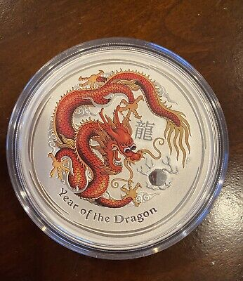 2012 Year of the Dragon Perthmint Color Silver Coin 5 oz Beautiful