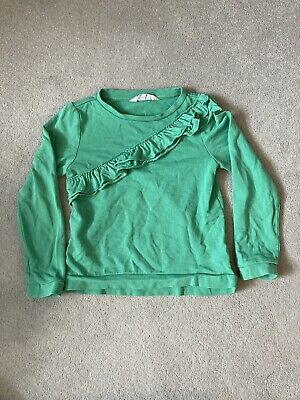 Girls Sweatshirt Jumper Green Age 6-8 Years Frill