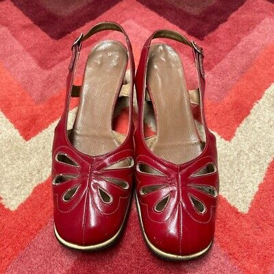 Vintage 1960's Mod twiggy Sling Back Shoes 6.5