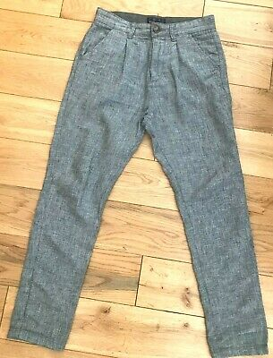 Next Boys Grey Cotton & Linen Trousers In Good Condition - Age 10 Yrs
