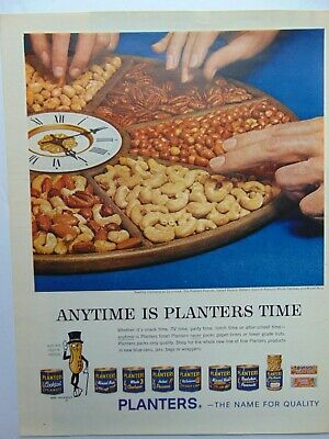 1962 PLANTERS NUTS in Clock Plate art print ad