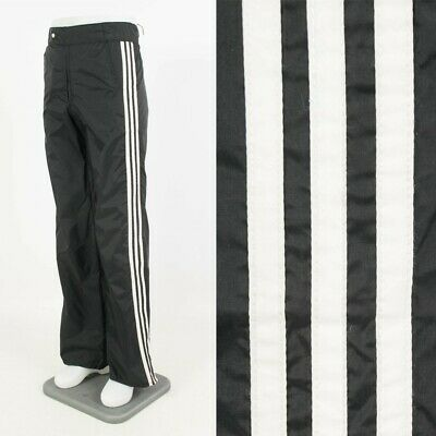 Mens Vintage Adidas Rain Trousers Black Three Stripe Car Wash Outdoors Waist 34""