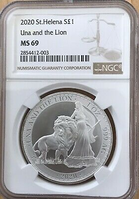 NGC MS69 St. Helena Great Britain 2020 Una and the Lion Silver 1 Oz SKU # 003