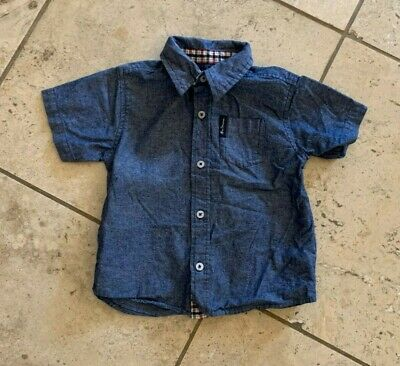 Infant Boys Ben Sherman Blue Button Front Short Sleeve Shirt Size 24 Month