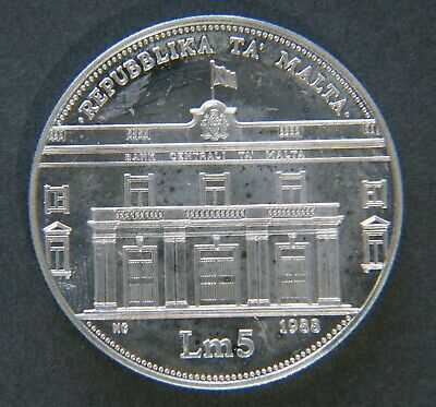 MALTA 1988 5 Liri Silver Crown Proof 20th Anniversary Central Bank Low Mintage