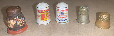 Vintage Collectible Thimbles Hills Bros. Coffee, Lea & Perrin's Sauce (5)