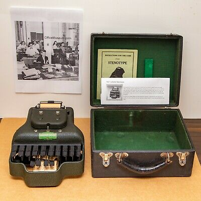 Vintage Stenotype Stenograph Machine Lesson Case And Manual Lasalle Model 4