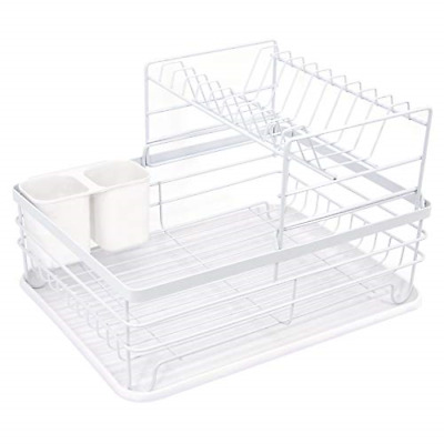 Doubleblack 2-Tier Kitchen Iron Drain Rack, Compact Cutlery Rack with Removable