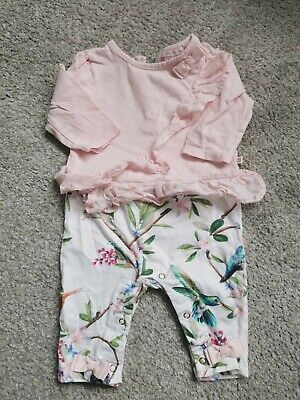 3-6 Month Baby Girls All In One Ted Baker Outfit Pink and White Floral Flowers
