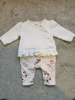 0-3 Month Baby Girls All In One Ted Baker Outfit White and Pink Floral Flowers