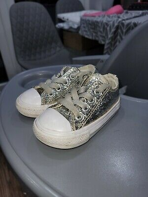 Girls converse trainers, silver glitter, size 4, baby, toddler