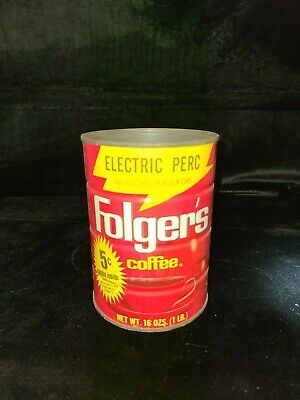 Vintage Folgers Metal Coffee Can *NO LID* Electric Perc 5c coupon label