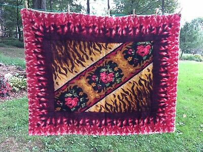 Antique Vintage Horse Hair BUGGY BLANKET CARRIAGE Sleigh Lap Robe Floral Pattern