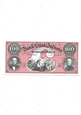 Bank State Of Indiana $100 1857 Abnc