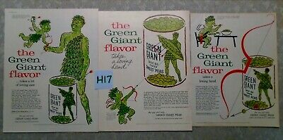 3 Vintage Pillsbury Green Giant Magazine Ad Suitable for Framing H17 NEW SPROUT