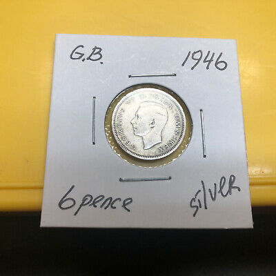 1946 Great Britain GB UK England Sixpence 6 pence 0.500 Silver Coin