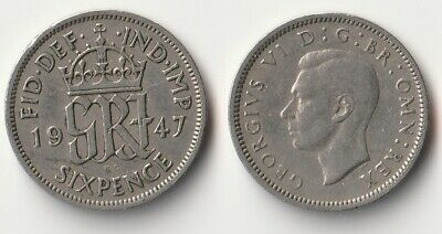 1947 Great Britain sixpence coin