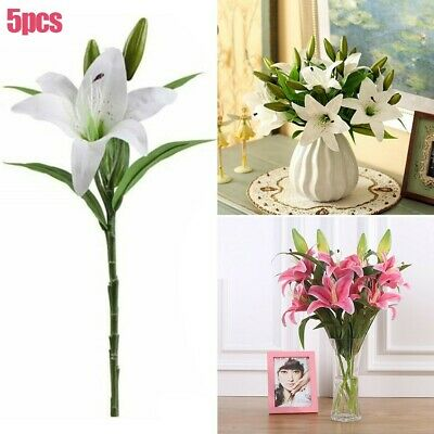 5pcs Set Artificial Lillies Babysbreath Hydrangea Rose Home Wedding Gift