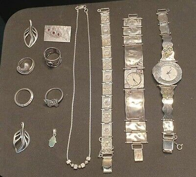 Lot Of Sterling Silver 925 Jewelry Watch Ring Bracelet And Necklace Gift Rare