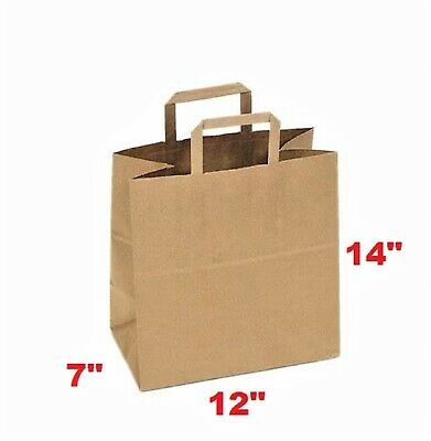 "Brown paper bag 12""x7""x14"" Large with flat handle Case of 50 counts of kraft bag"