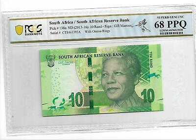 South Africa/South African Reserve Bank Pick#138a (2013-16)10 Rand PCGS 68 PPQ