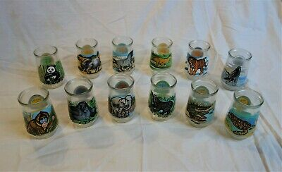 Lot complete set Welches/Welch's Endangered Species jelly jar glasses - all 12!