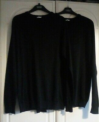 2 black v neck school jumpers F & F Excellent used condition unisex 15-16 yrs
