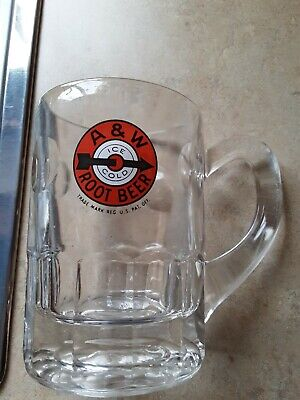 "Dog eared handle A & W 5"" Papa size Bullseye Soda Root Beer Mug 10 oz."