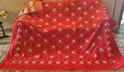 Antique Woven Coverlet Bedspread Deep Red raised detail fringe edges beautiful!