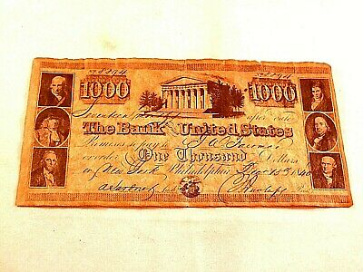 1840 Bank of United States $1000 dollar bank note, reproduction
