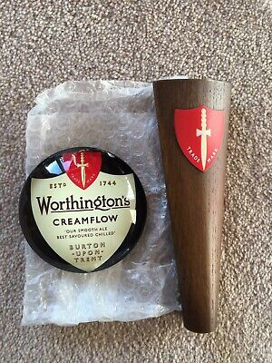 Worthingtons Cream flow Beer tap Handle And Round Font Badge, Man Cave, Homebar