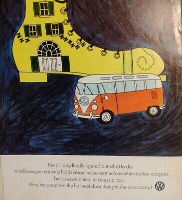 """1967 VOLKSWAGEN BUS OLD LADY AND THE SHOE Vintage Color Print AD 10"""" x 14"""""""