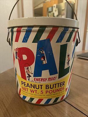 5 Lb Pound Pal Peanut Butter Tin Bucket Lid & Handle Empty Jif Skippy Peter Pan