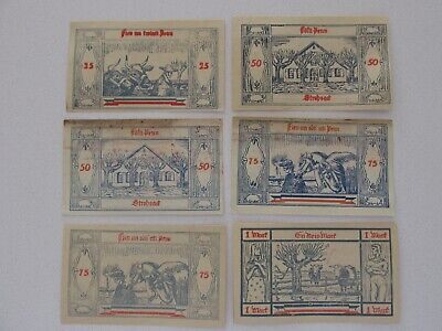 Gross-Nordende 25/50/75 Pfennig and 1 Mark Notes Lot of 6