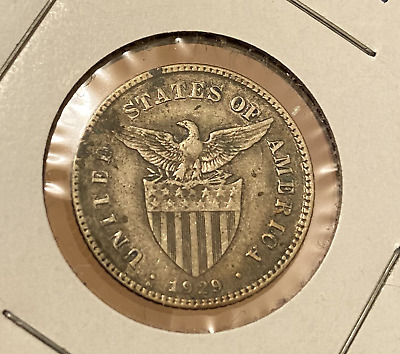 US Philippines 1929 M Silver 20 Centavos in circulated condition