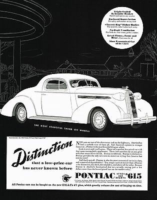 1936 BIG Vintage Pontiac De Luxe Deluxe Eight Coupe Car Automobile Art Print Ad