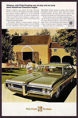1968 Vintage Pontiac Executive Safari Station Wagon AF VK Car Art Print Ad