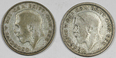 GREAT BRITAIN Lot of Two (2X) Shilling Silver Coins 1924 & 1933 Fine/VF George V