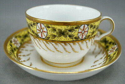 Spode Red & Gold Medallions Green Leaves Yellow Tea Cup & Saucer C1800-1815 C