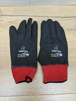 4 x Fully Coated Gloves Nitrile Adept-Oil Waterproof SIZE 10/XL