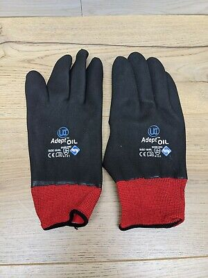8 x Fully Coated Gloves Nitrile Adept-Oil Waterproof SIZE 9/L