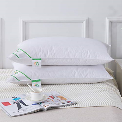 Goose Feather and Down Pillows Pair, Luxury Pillows with 100% Cotton Cover, and