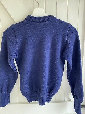 "Balmoral Navy School Jumper Size 30"" Wool very heavy weight ex private school"