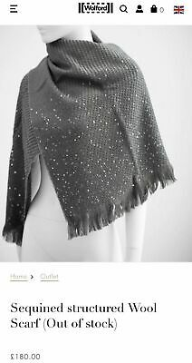WOLFORD SEQUINED STRUCTURED WOOL SCARF large merino wool in GRAPHIT dark grey