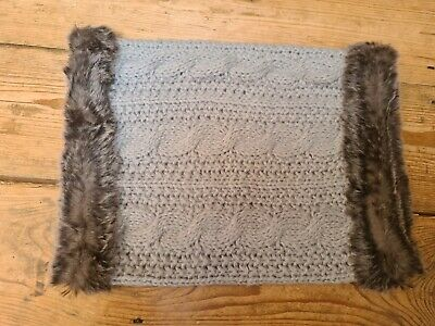 Accessorize Grey Knitted And Faux Fur Snood