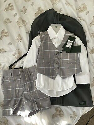 boys pageboy suits Shorts Set Checked Grey Age 3