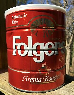 Folgers Mountain Grown Coffee Tin Automatic Drip Aroma Roasted 39oz with lid