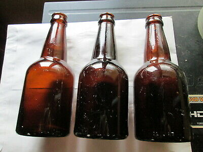 Vintage Amber Weiss Beer Bottles (Lot Of 3), Seamed,  F&S, W F&S, Empty, Used